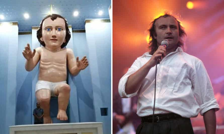 A statue of baby Jesus in a Mexican church and the musician Phil Collins in 1988.