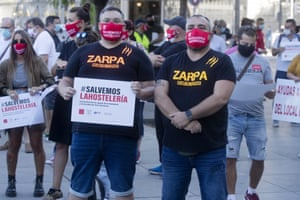 Bar and restaurant owners and workers protest against Covid-related restrictions in their sector in Madrid, Spain, Wednesday, on 9 September, 2020. The Spanish capital, Madrid, has emerged as the most worrying source of new infections and regional authorities had announced new restrictions on social and family gatherings. Signs read 'Lets save our hospitality industry'.