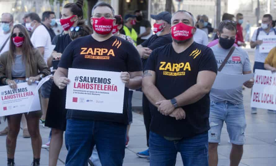 Bar and restaurant workers protest against Covid-19 restrictions in Madrid, Spain