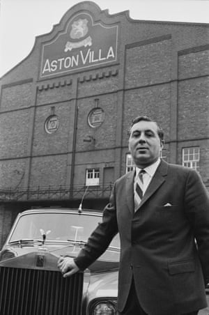 Doug Ellis, who made his millions in package holidays, parks his Rolls-Royce outside Villa Park, Aston Villa's ground, in Birmingham, in 1969.