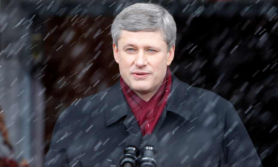 "Harper in 2008. He has been described as ""Cold ... aloof ... ruthless ..."""
