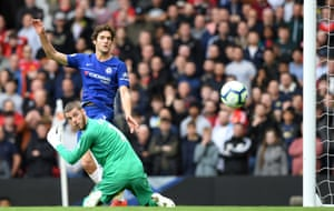 Marcos Alonso scores the equaliser past David De Gea to draw the match 1-1..