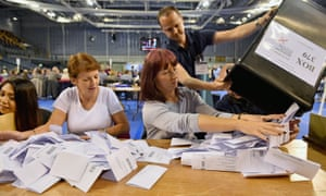 Votes being counted in Glasgow during the 2015 general election campaign.