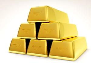 A pyramid of gold bars