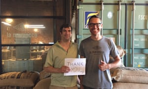 'It can get hot in here': A.J. Jacobs with Ed Kaufmann of Joe Coffee at a roastery in Brooklyn.