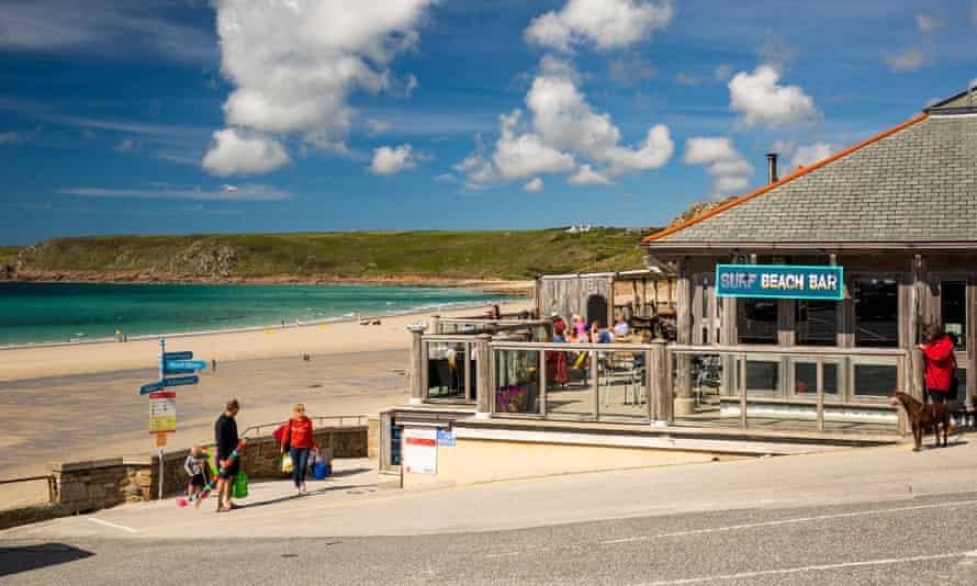 The Surf Beach Bar on Sennen Cove beach, Cornwall.