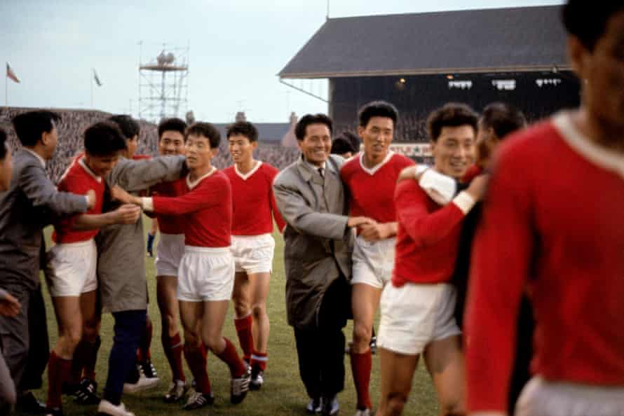 Jubilant North Korea players leave the Ayresome Park pitch after their 1-0 win over Italy in 1966.