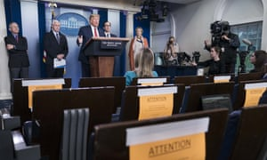 United States President Donald Trump delivers remarks on the coronavirus pandemic in the White House's Brady Press Briefing Room.