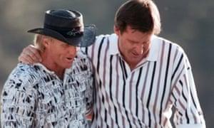 Faldo and Norman walk off the 18th after Faldo won his third Masters.