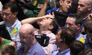The New York Mercantile Exchange reacts to the collapse of Lehman Brothers on 15 September 2008.