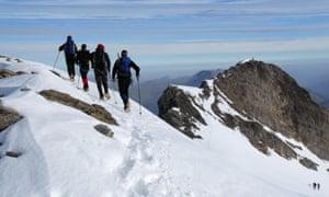 Mountain climbers, summit ridge of Wildhorn, Bernese alps, Switzerland