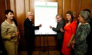 Cross-party MPs sign the Church House Declaration during an event about opposing the suspension of parliament to prevent no-deal Brexit.