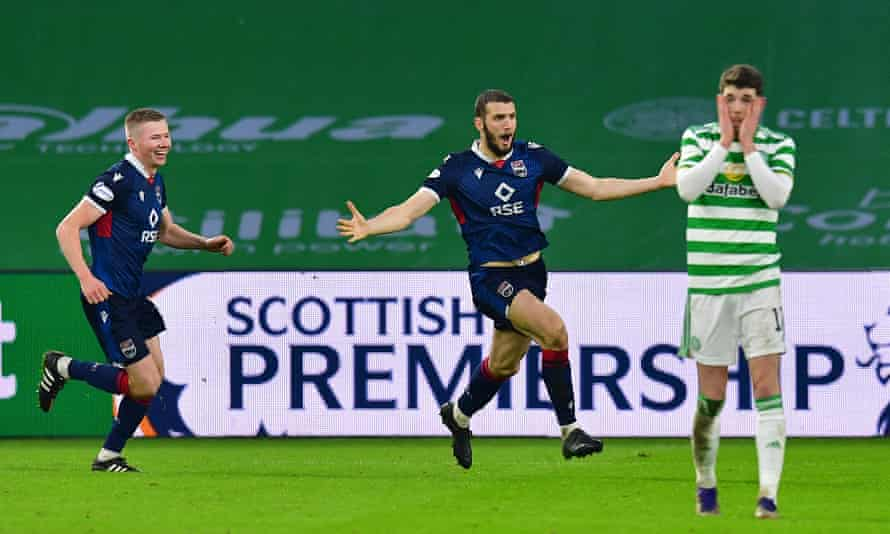 Alex Iacovitti celebrates after scoring Ross County's second goal in their 2-0 win over Celtic.