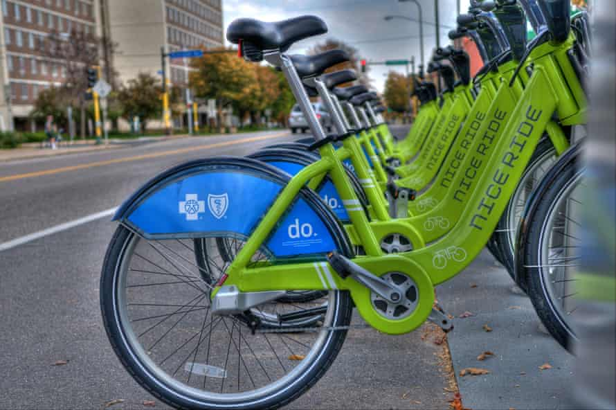 The Nice Ride bike scheme in the twin cities of Minneapolis and St Paul