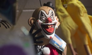 A clown mask for sale in a US shop.