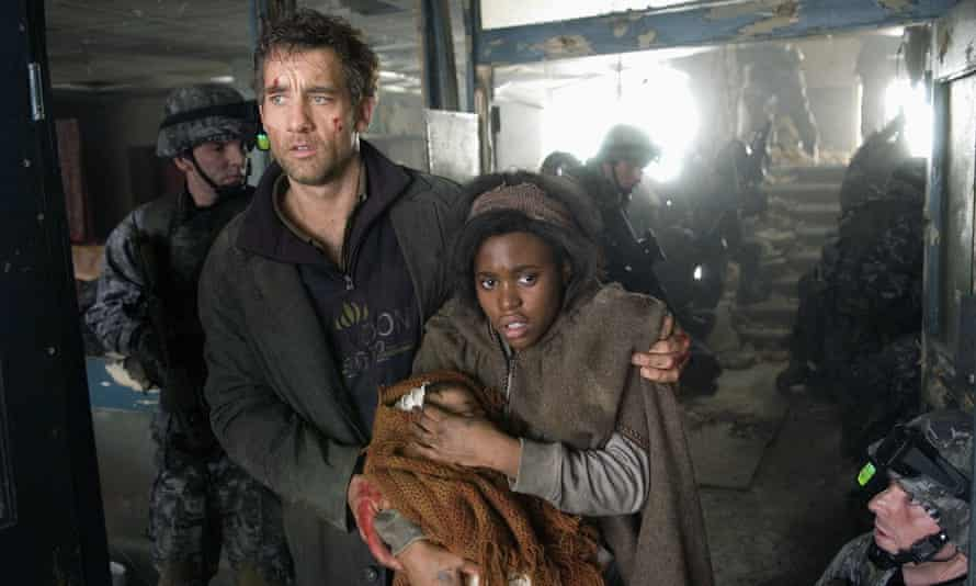 Clive Owen and Claire-Hope Ashitey in Children of Men, the 2006 adaptation of PD James' novel.