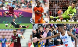 West Ham's Declan Rice acrobatically evades a challenge, Joelinton of Newcastle United celebrates after scoring, David de Gea of Manchester United saves; Crystal Palace's Wilfried Zaha in happier times at Selhurst Park and Jay Rodriguez organises his Burnley teammates.