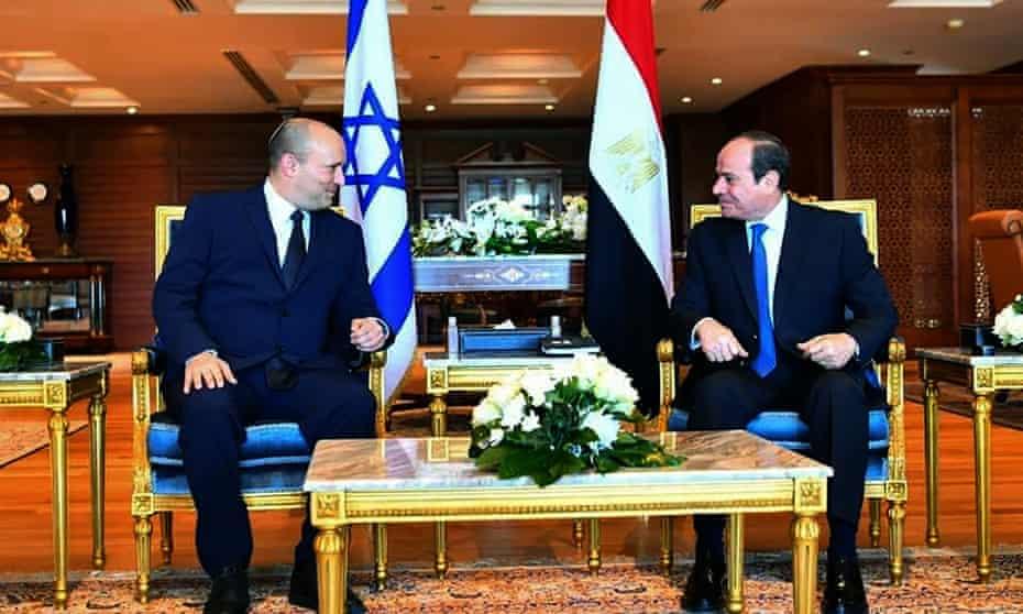 Abdel-Fattah el-Sissi, right, meets Naftali Bennett in the Red Sea resort of Sharm el-Sheikh, Egypt.