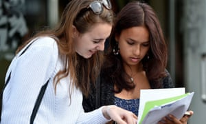 Students get their A-level results at the Lady Eleanor Holles school in south-west London.