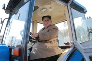 Nampo City, North Korea: Kim Jong-un inspects the Kumsong tractor factory