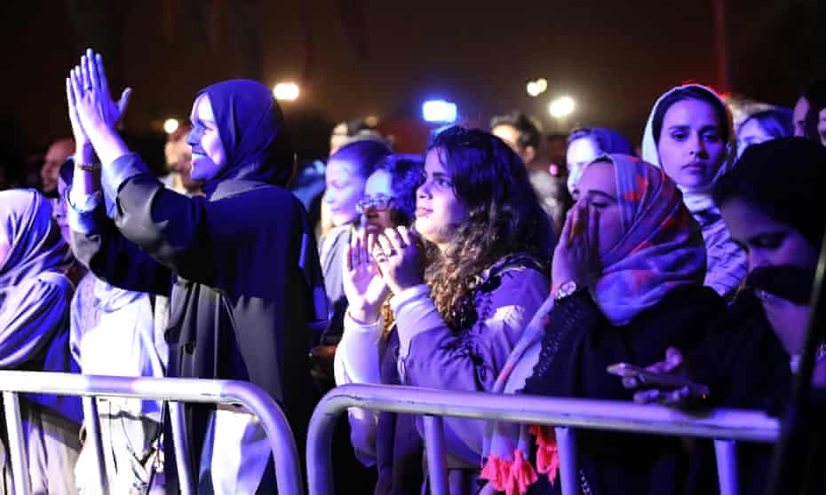 Saudi women attend the country's first jazz festival
