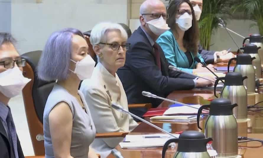 US deputy secretary of state Wendy Sherman, center, leads a delegation during talks with Chinese officials in Tianjin on Monday.