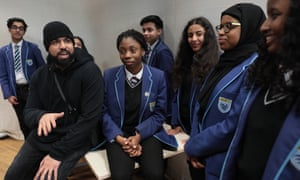 YouTube star Humza Arshad holds a workshop on knife crime, gang violence and terrorism with pupils at Harris Academy, Peckham, south London.