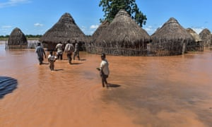 Floodwaters in the coastal Tana Delta region of Kenya