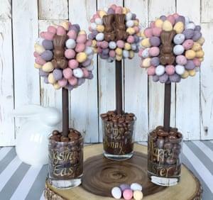 mini egg and chocolate bunny trees