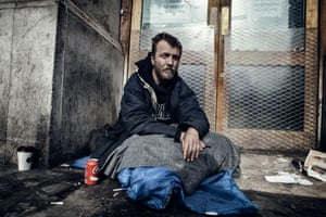 Mark, homeless in St Martins in the Field Church plaza
