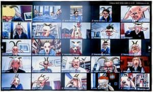Steve Bell's cartoon on Boris Johnson's virtual cabinet meeting.
