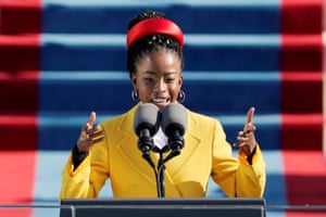 American poet Amanda Gorman reads a poem during the 59th Presidential Inauguration at the U.S. Capitol.