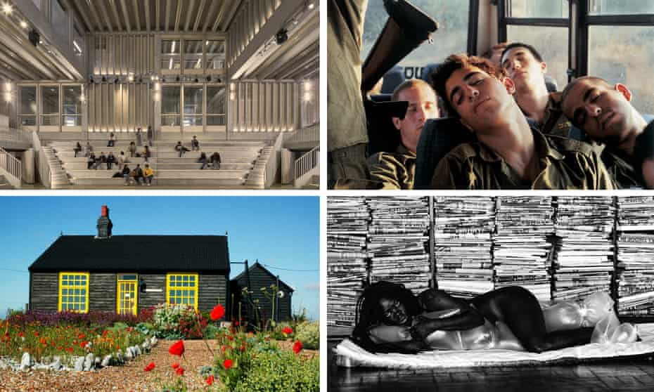 Clockwise from top left, Kingston University's Town House by Grafton Architect, an image by Adi Nes as part of the Barbican exhibition Masculinities, a portrait by Zanele Muholi and Derek Jarman's house in Dungeness.
