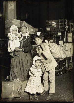 Italian family in the baggage room, Ellis Island, 1905 Hine is often called a 'social photographer', and when he worked at the Ethical Culture School in New York City one of his assignments was to document immigrants arriving at Ellis Island. He hoped the work would make viewers have 'the same regard for contemporary immigrants as they have for pilgrims who landed at Plymouth Rock'