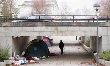 Tents used by rough sleepers in Milton Keynes.