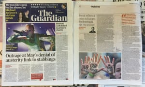 A montage of the front page of The Guardian newspapers