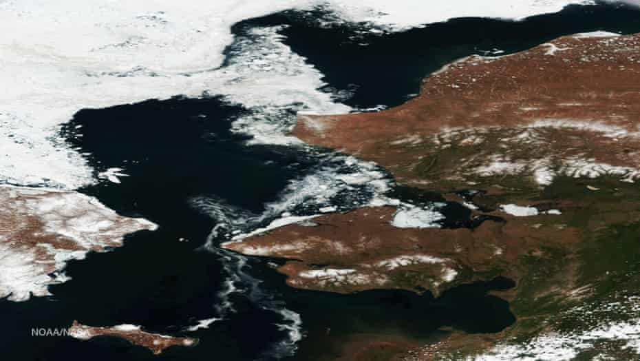 Arctic ice retreat off the northwest coast of Alaska