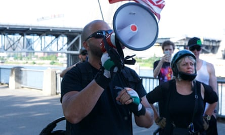 Joey Gibson, who leads the rightwing protest group Patriot Prayer.