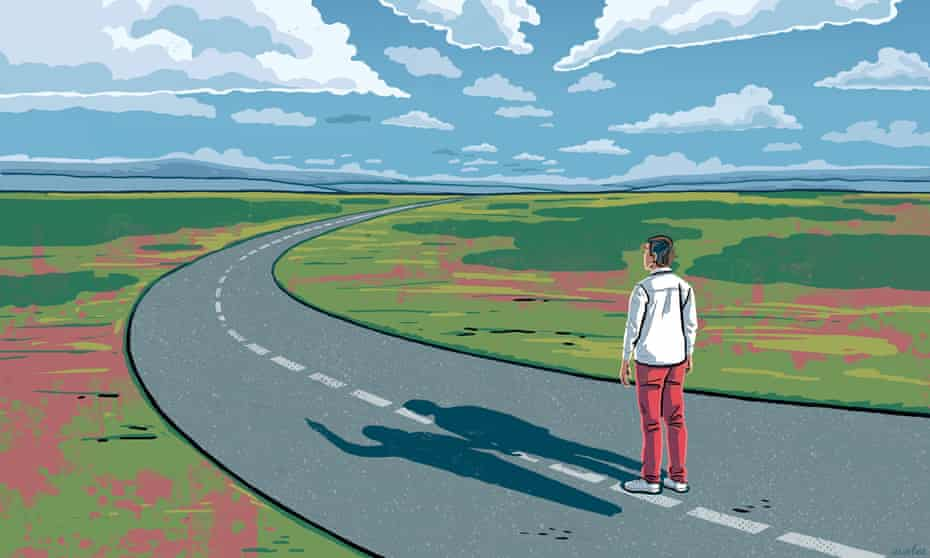 An illustration of a lone figure standing in the middle of an empty road, land stretching either side