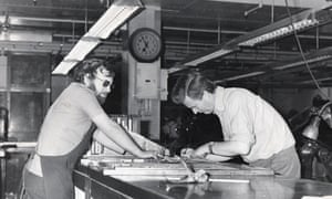 Jeremy Hunt, right, working on the stone on a Saturday evening at the Observer when it was based in St Andrew's Hill, central London.