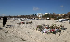 Floral tributes on the beach at the hotel in Sousse, Tunisia