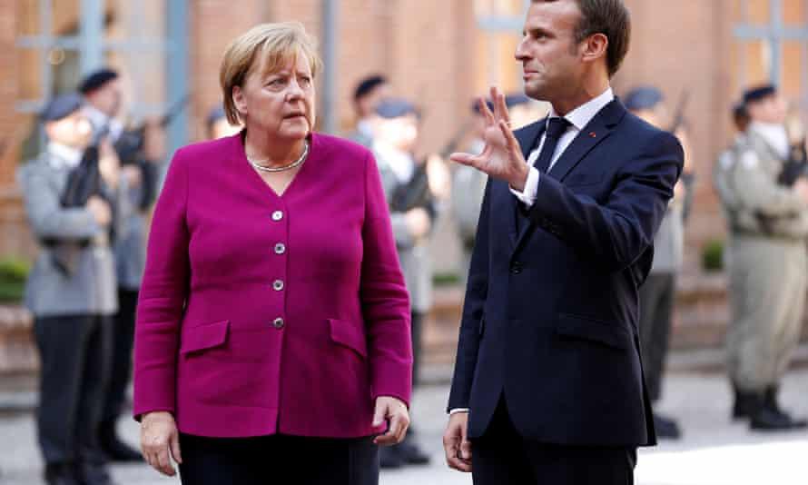 French president Emmanuel Macron with German chancellor Angela Merkel.