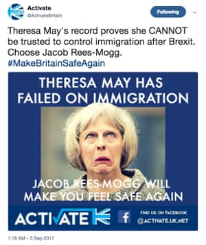 A tweet on the @ActivateBritain account mocking Theresa May