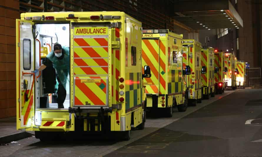 Ambulances queueing outside the Royal London hospital in east London, 29 December 2020
