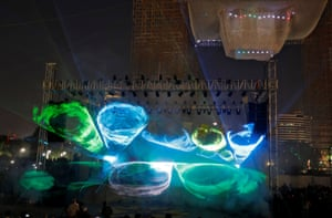 A laser light show takes place at Connaught Place in New Delhi, India