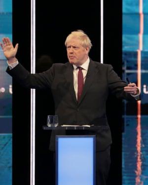 Boris Johnson takes part in the debate on ITV.