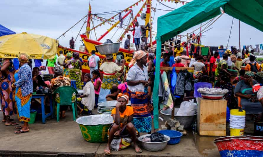 Hustle and bustle: traders at the Bosomtwi-Sam Fishing Harbour market.