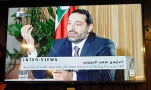 Saad Hariri seen during a Future TV interview on Sunday evening.