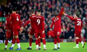 Liverpool's Sadio Mane celebrates scoring the only goal of the game.
