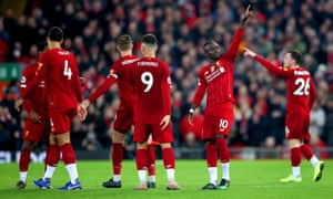 Sadio Mané points his finger to the heavens after scoring Liverpool's winner in their 1-0 win over Wolves.
